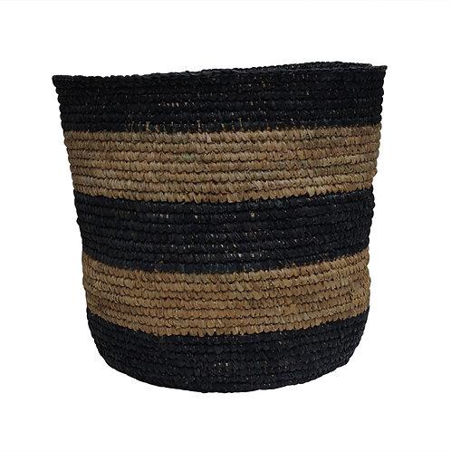 "Raffia Basket ""Stripe Black"",Large"