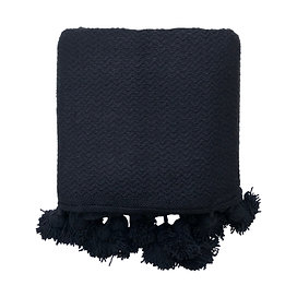 Throw Pompom, Black Chevron
