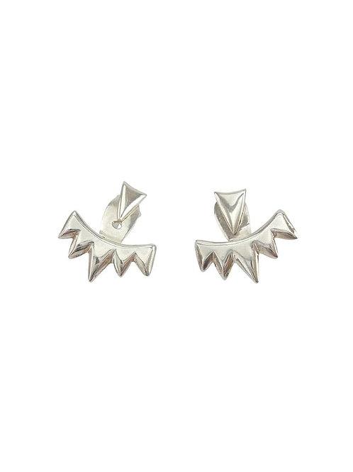 Ear Jacket 'Spiky' Silver