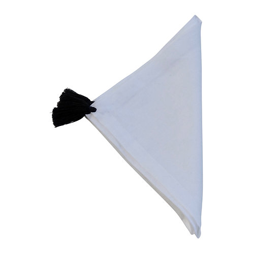 Linen Napkin Orient 4, Black On White