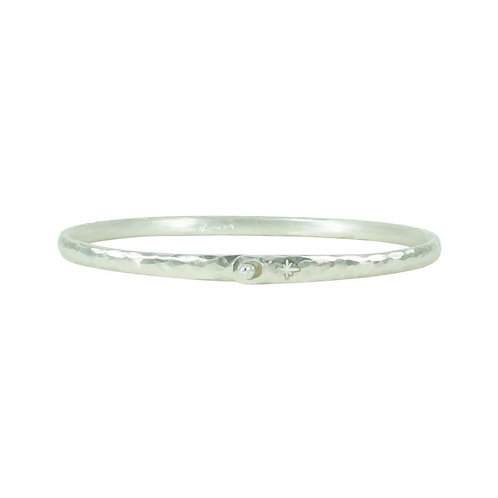 ⚥ Bangle Hammered Silver