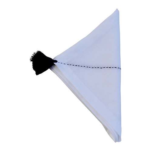 Linen Napkin Croix, Black On White