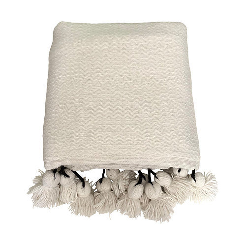Throw Pompom, White Chevron