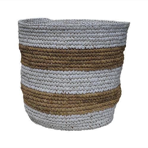 "Raffia Basket ""Stripe White"", Medium"