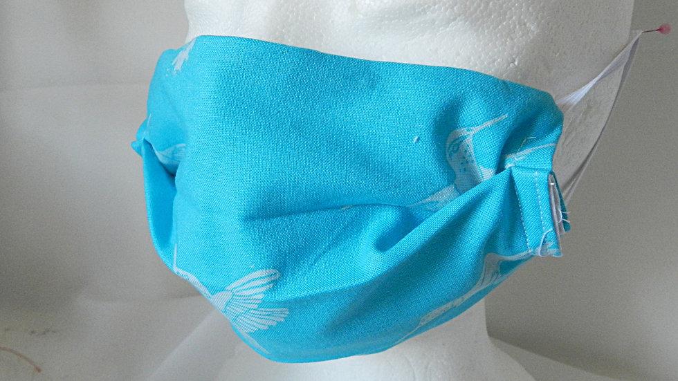 Masque 3 couches en tissu turquoise avec oiseaux, lavable