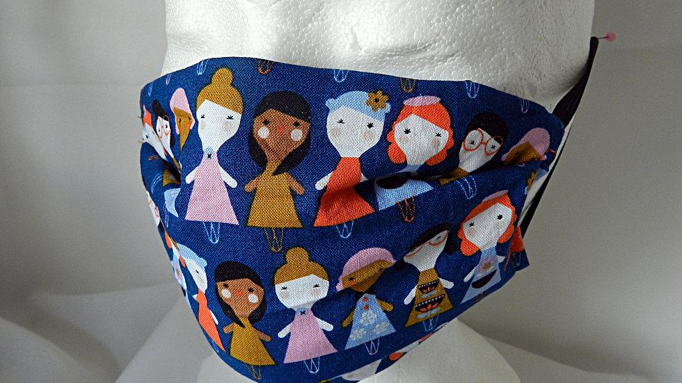 Masque 3 couches en tissu bleu avec personnages, lavable