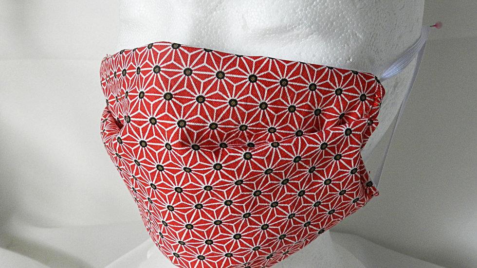 Masque 3 couches en tissu japonais rouge, lavable