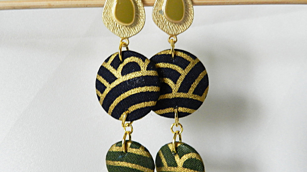 Boucles d'oreilles en tissu noir, kaki et doré