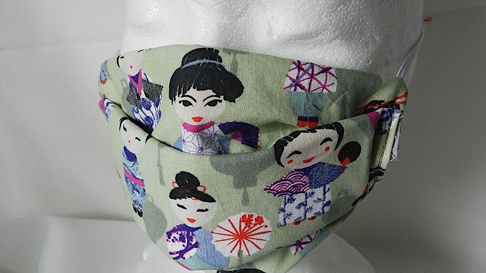 Masque 3 couches en tissu vert avec japonaises, lavable