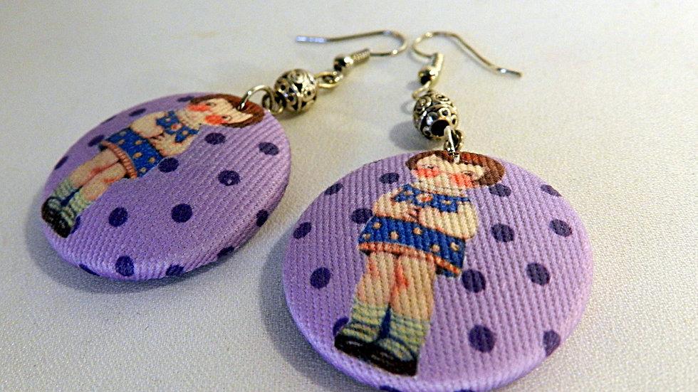 Boucles d'oreilles en tissu violet, avec poupée rétro