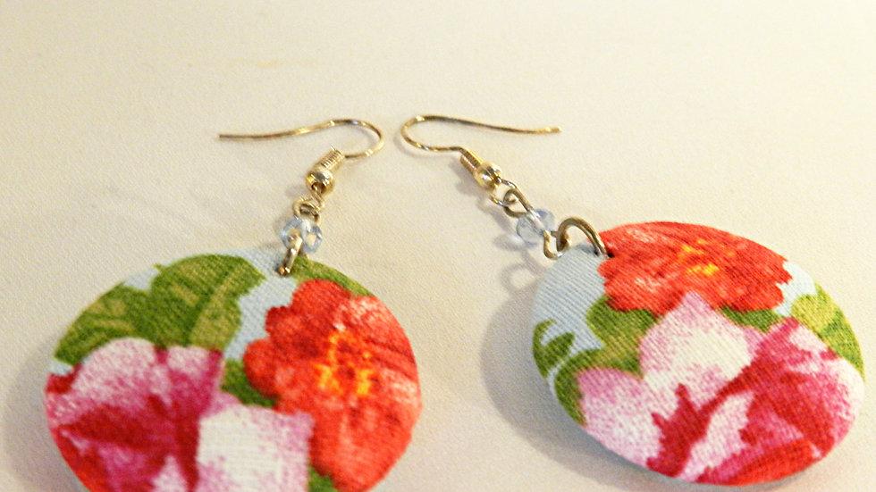 Boucles d'oreilles en tissu fleuri rouge et rose