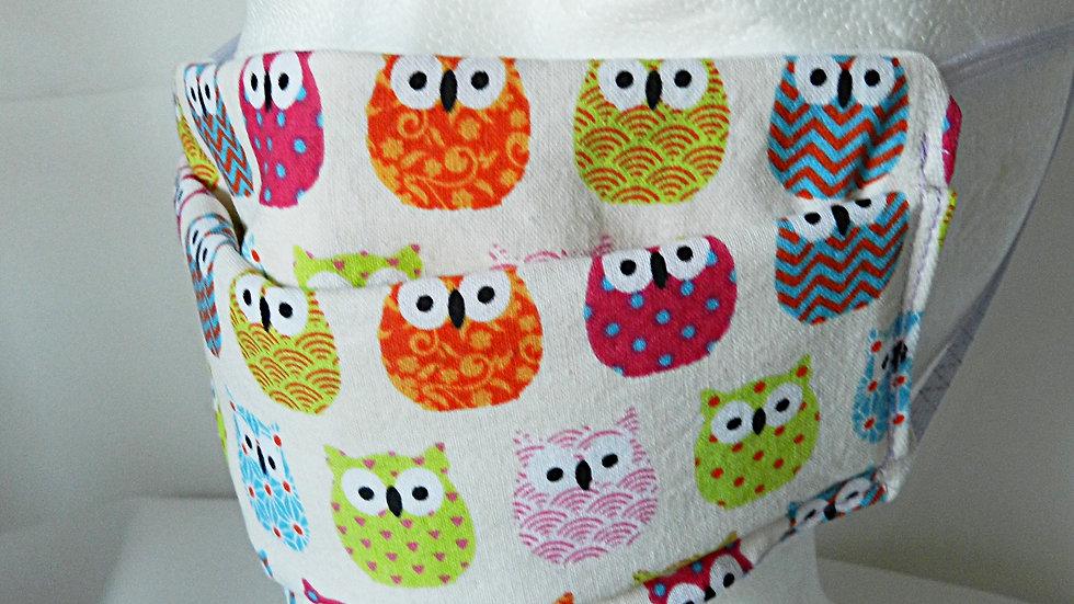 Masque 3 couches en tissu blanc avec hiboux multicolores, lavable
