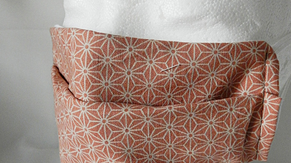 Masque 3 couches en tissu rose et blanc, lavable
