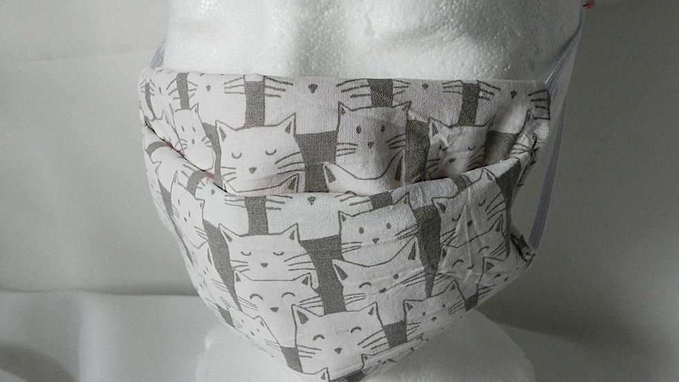 Masque 3 couches en tissu gris et blanc avec chats, lavable