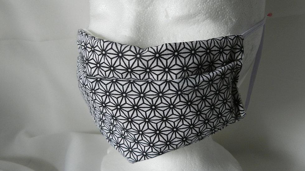 Masque 3 couches en tissu blanc japonais, lavable