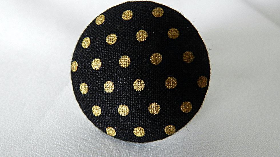 Bague réglable en tissu noir à pois dorés