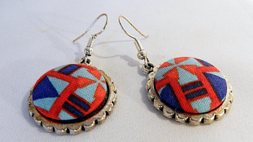 Boucles d'oreilles en tissu bleu et rouge