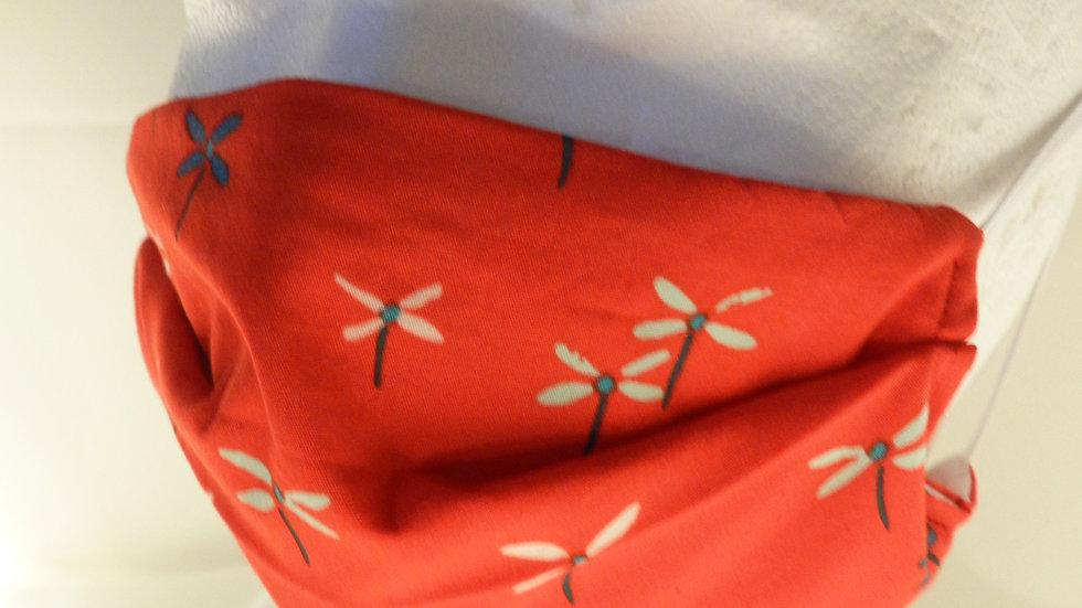 Masque 3 couches en tissu rouge avec libellules, lavable