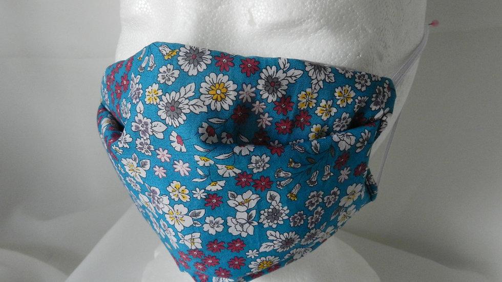Masque 3 couches en tissu Liberty bleu, lavable