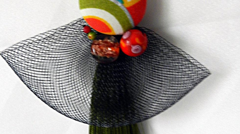 Sautoir en tissu japonais multicolore, avec pompon