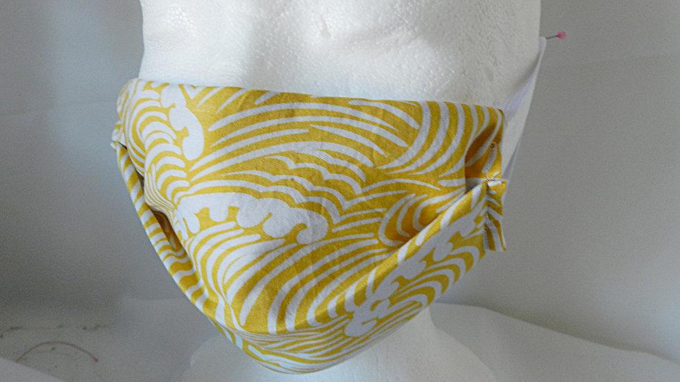 Masque 3 couches en tissu japonais jaune, lavable