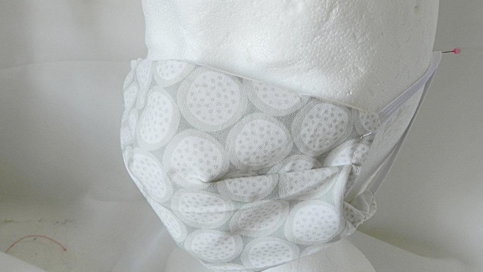 Masque 3 couches en tissu gris et blanc géométrique, lavable