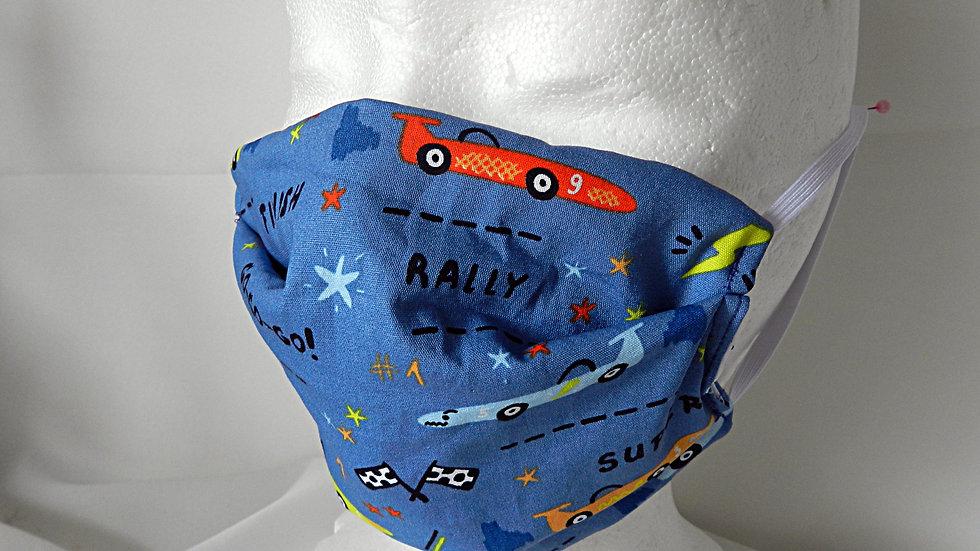 Masque 3 couches en tissu bleu avec voitures de course, lavable