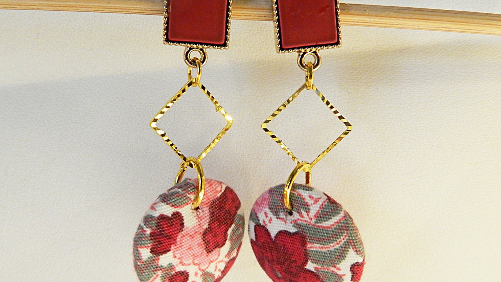 Boucles d'oreilles en tissu rayé rose fleuri