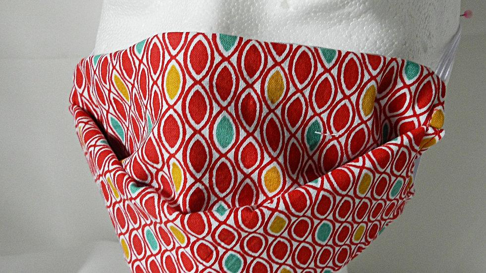 Masque 3 couches en tissu graphique rouge et blanc, lavable