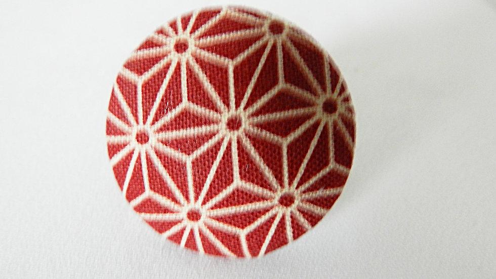 Bague réglable en tissu japonais graphique bordeaux et blanc