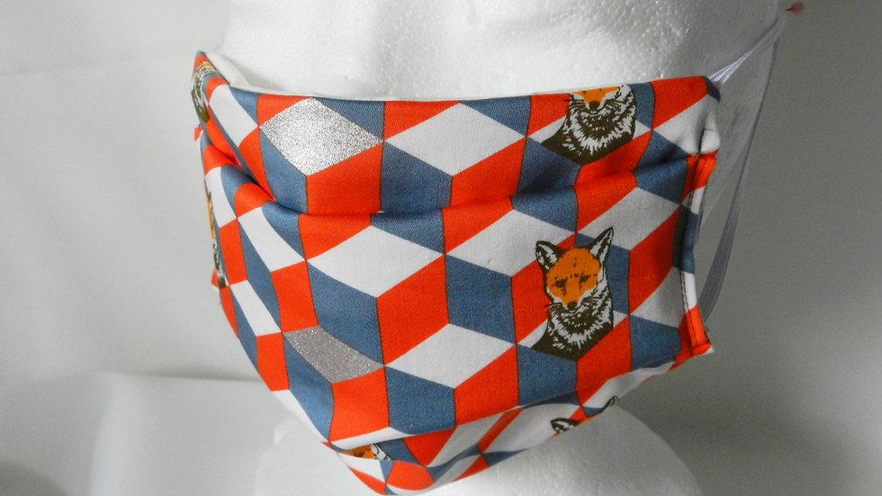 Masque 3 couches en tissu graphique avec renards, lavable