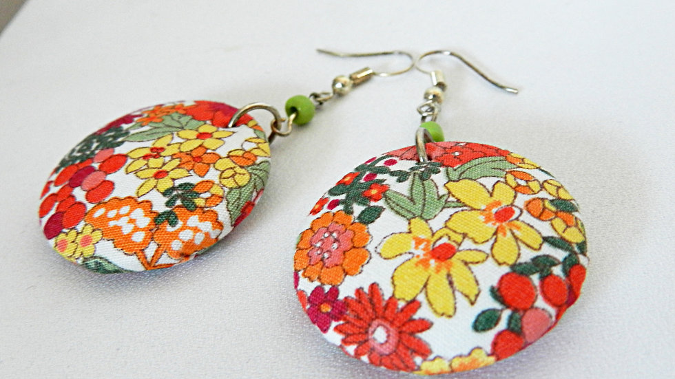 Boucles d'oreilles en tissu Liberty fleuri, jaune rouge et orange