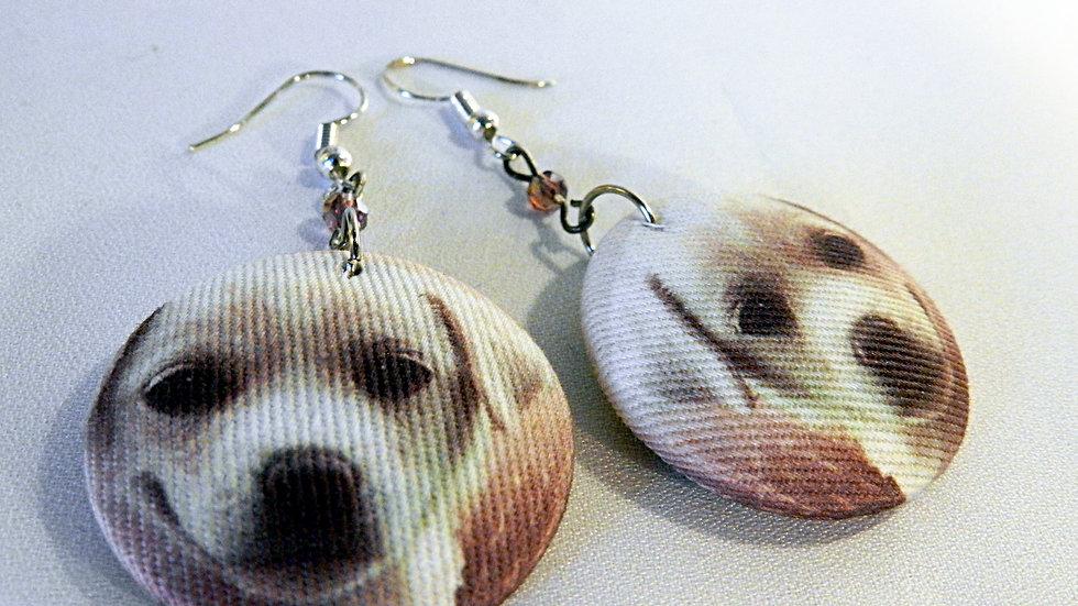 Boucles d'oreilles en tissu violet, avec dessin de chien