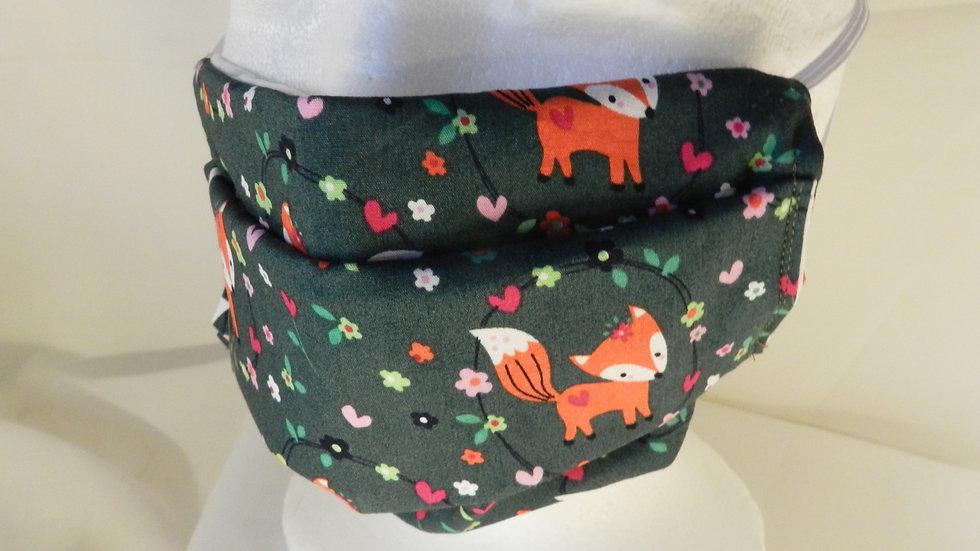 Masque 3 couches en tissu motif renards, lavable