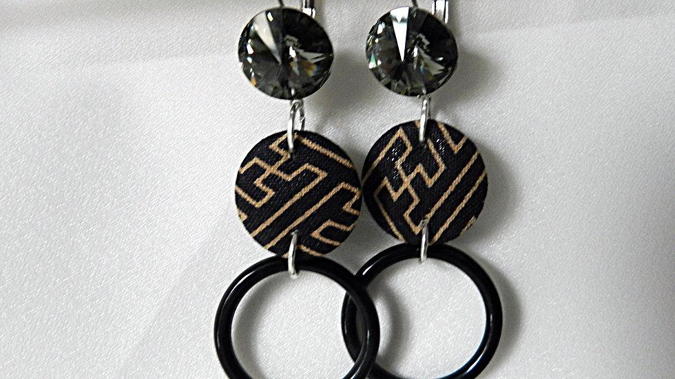 Boucles d'oreilles en tissu noir et beige