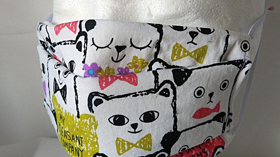 Masque 3 couches en tissu coloré avec ours, lavable