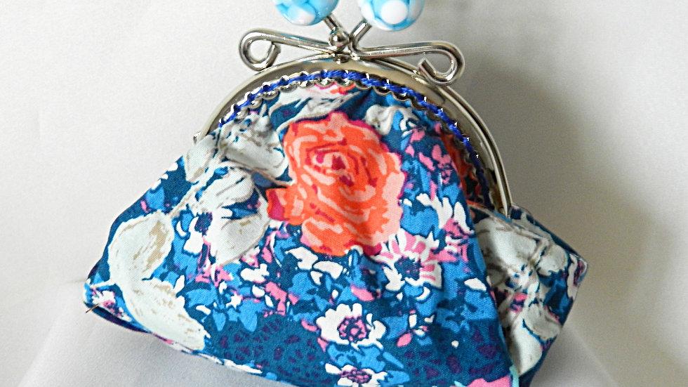Porte-monnaie rétro en tissu bleu fleuri