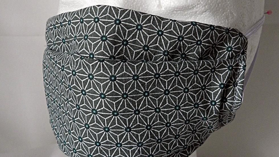 Masque 3 couches en tissu japonais gris, lavable