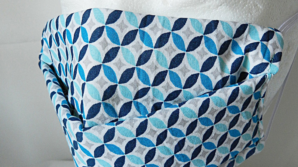 Masque 3 couches en tissu bleu graphique, lavable
