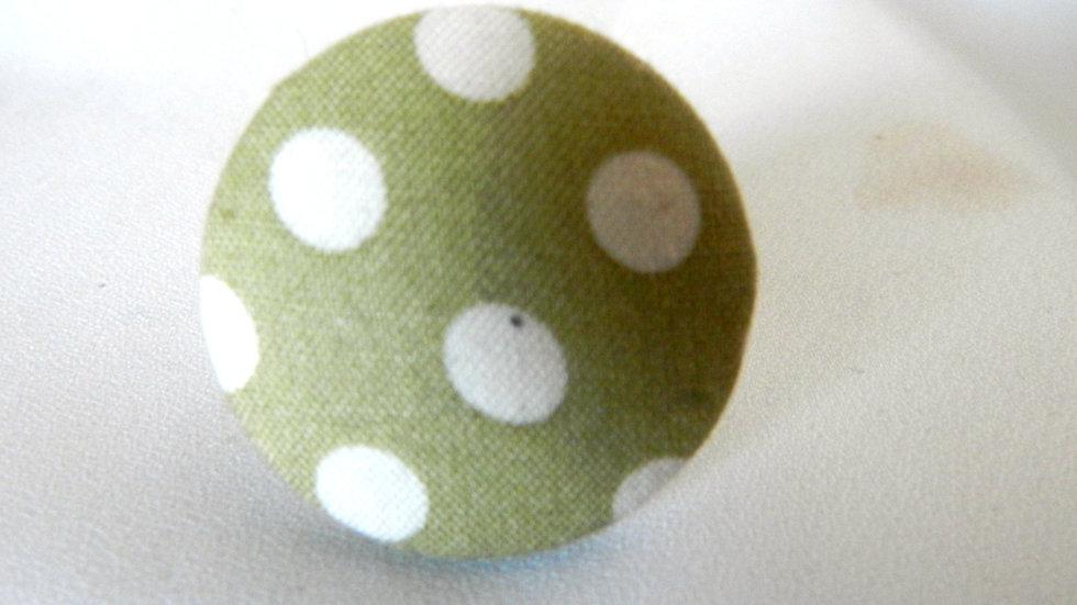Bague réglable en tissu vert à pois blancs