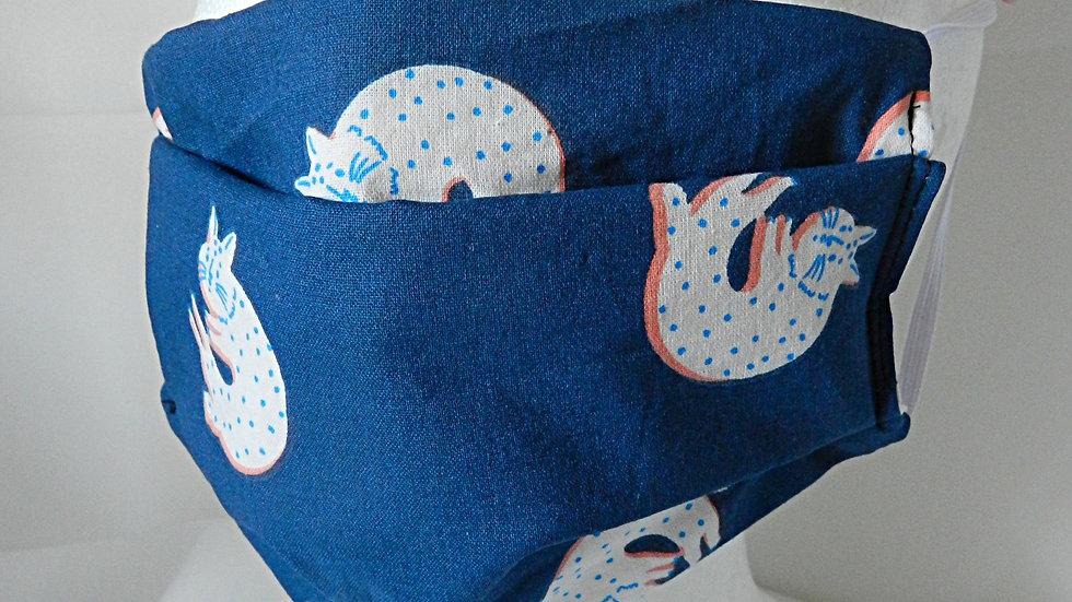 Masque 3 couches en tissu motif chats, lavable