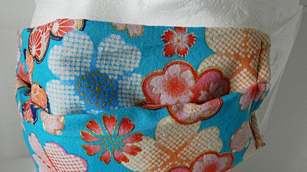 Masque 3 couches en tissu japonais bleu fleuri, lavable