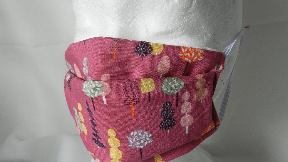 Masque 3 couches en tissu rose avec arbres, lavable