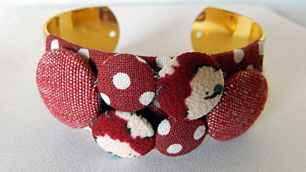 Bracelet manchette en tissus bordeaux