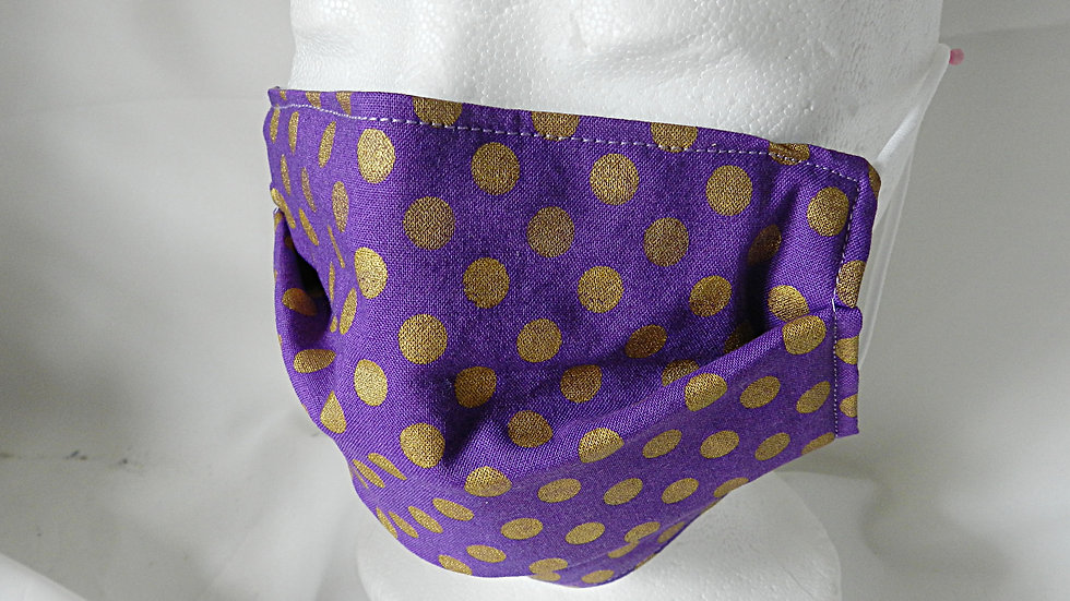 Masque 3 couches en tissu violet à pois dorés, lavable