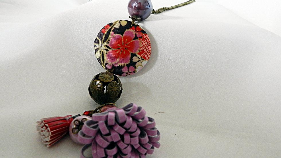 Sautoir en tissu japonais fleuri
