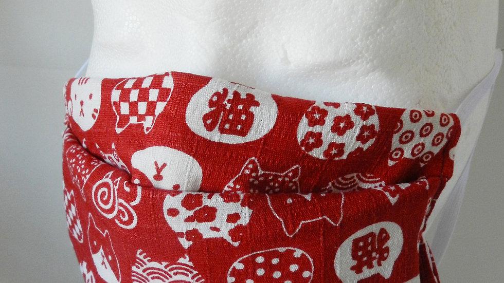 Masque 3 couches en tissu rouge avec chats, lavable