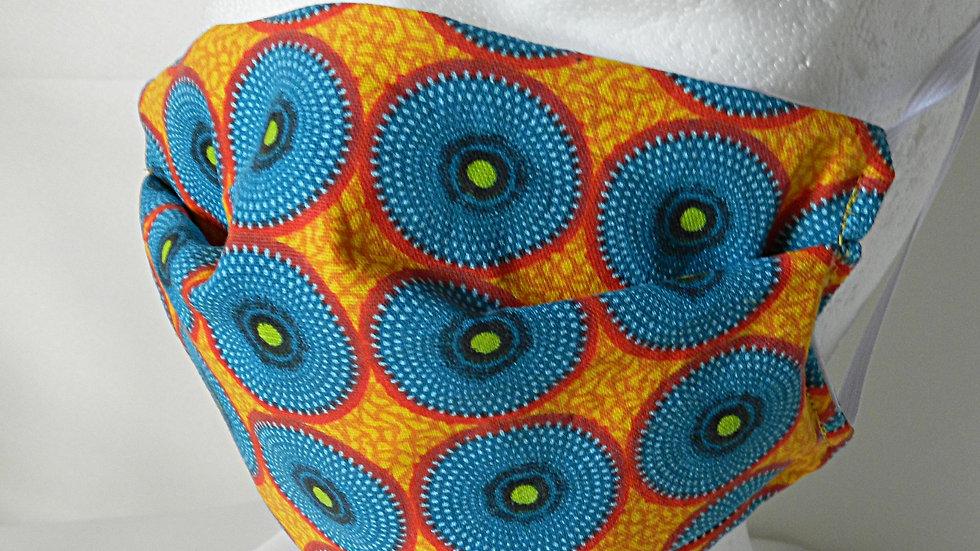Masque 3 couches en tissu wax géométrique jaune et bleu, lavable