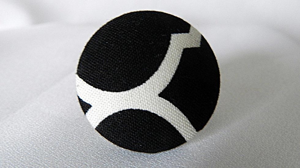 Bague réglable en tissu noir et blanc