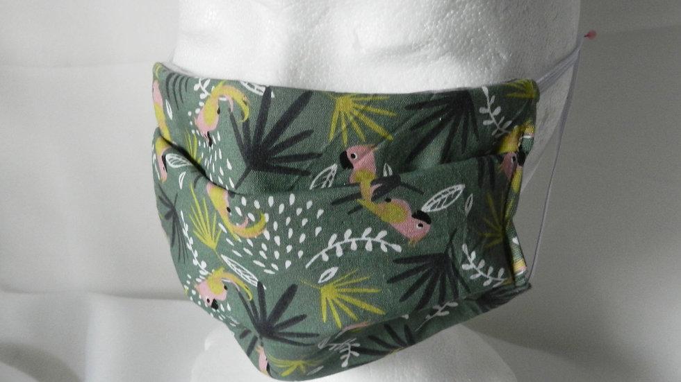 Masque 3 couches en tissu kaki avec perroquets, lavable